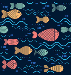 Funny cartoon fishes seamless background cute vector