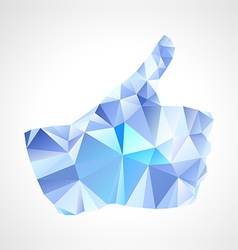 Geometric polygonal blue abstract like button vector image