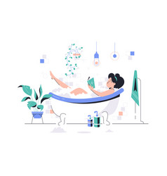 girl relaxing in foam bath with book vector image