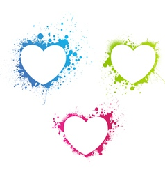 Grunge multicolored hearts vector