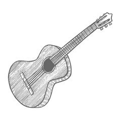 guitar in hand-drawn style vector image