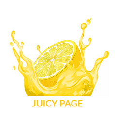 Half lemon falling in yellow juice splash vector