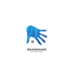 Hand and home logo design abstract colorful sign vector