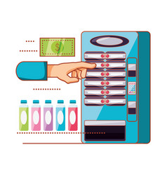 Hand using dispenser of beverage machine vector