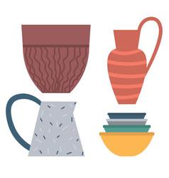 Handicraft plate and bowl rustic dishware vector