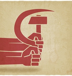 Hands with hammer and sickle old background vector