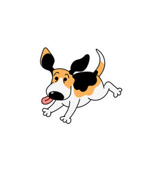 happy cartoon beagle dog running with tongue out vector image