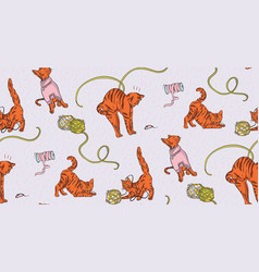 Home pet cat funny nursery print craft stitching vector