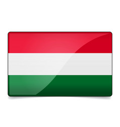hungary flag button with reflection and shadow vector image
