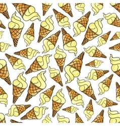 Ice cream waffle cone seamless background vector