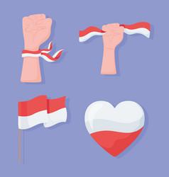 Indonesia flag set vector