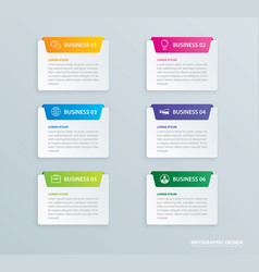 infographics tab paper index with 6 data template vector image