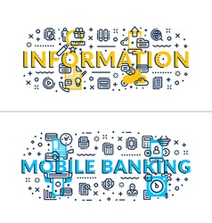 Information and Online Banking headings titles vector