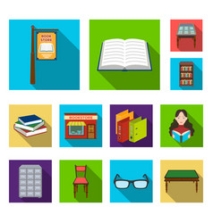 library and bookstore flat icons in set collection vector image