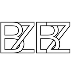 Logo sign bz zb icon sign two interlaced letters b vector