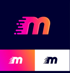 m letter winds movement dynamic logo velocity deli vector image