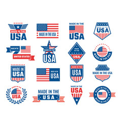 made in usa logo label for patriot american flag vector image
