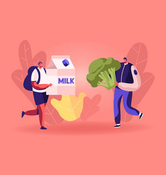 Male characters carry huge milk box and broccoli vector