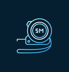 Measuring tape blue linear icon or logo vector
