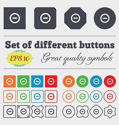 Minus Negative zoom stop icon sign Big set of vector