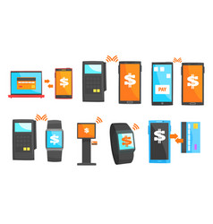 mobile payment and other payment methods set vector image