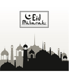 Monochrome background silhouette eid mubarak with vector