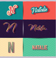 Name natalie in various retro graphic design vector