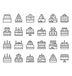 outline cake icons sweet cupcake homemade vector image