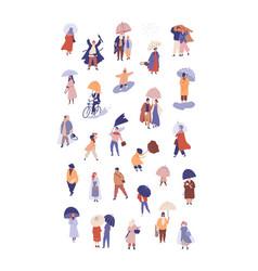 People with umbrellas flat vector