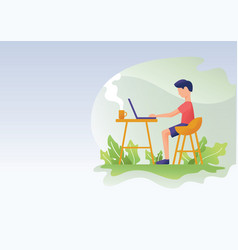 people working in outdoor with laptop and coffee vector image