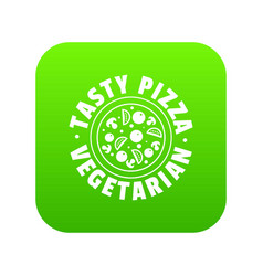 pizza vegetarian icon green vector image