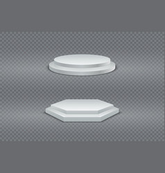 podium 3d white round and hexagonal two-stage vector image