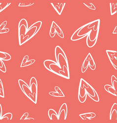 Quirky hand drawn soft cream doodle hearts on vector