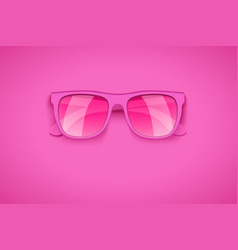 Rose colored glasses on pink background vector