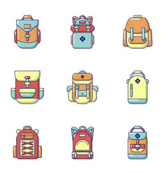 School backpack icons set cartoon style vector