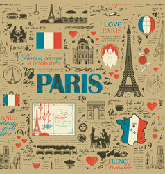 seamless pattern on theme france and paris vector image