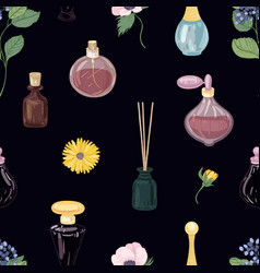Seamless pattern with aromatic perfumes in glass vector