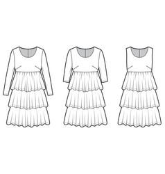 Set dresses babydoll technical fashion vector