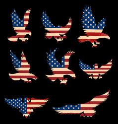 set eagle silhouette with usa flag background vector image