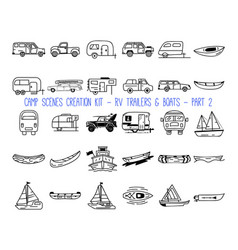 Set linear icons camper trailers part 2 vector