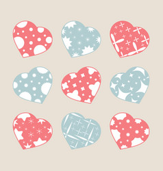 set of color hearts isolated on white background vector image