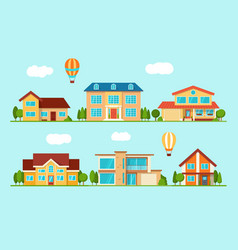 set of modern city cottage house front view vector image