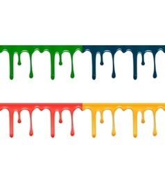 Set of seamless drips of paint of different colors vector image