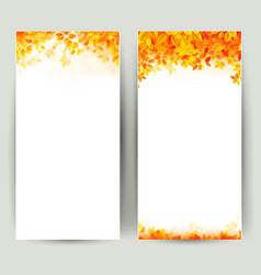 Set of two nature banners with autumn leaves vector