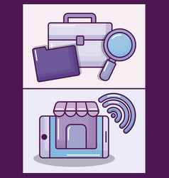 Set smartphone with electronic business icons vector