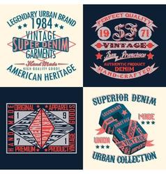 set tee shirt print design vector image
