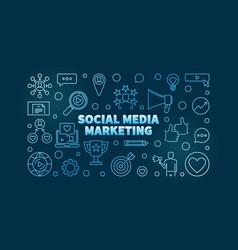 social media marketing blue linear vector image