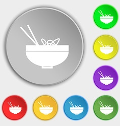 Spaghetti icon sign Symbol on eight flat buttons vector