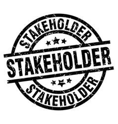 Stakeholder round grunge black stamp vector