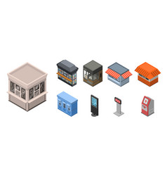 street shop kiosk icon set isometric style vector image